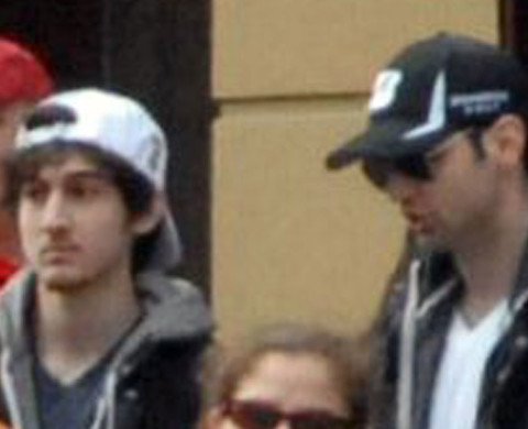 15 Apr 2013, Boston, Massachusetts, USA --- This Monday, April 15, 2013 photo provided by Bob Leonard shows second from left, Tamerlan Tsarnaev, who was dubbed Suspect No. 1 and third from left, Dzhokhar A. Tsarnaev, who was dubbed Suspect No. 2 in the Boston Marathon bombings by law enforcement. This image was taken approximately 10-20 minutes before the blast. (AP Photo/Bob Leonard) --- Image by © Bob Leonard/ /AP/Corbis