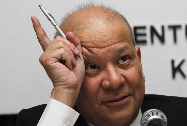 28 Sep 2012, Manila, Luzon Island, Philippines --- Ramon Ang, president of Philippine Airlines (PAL) and San Miguel Corporation (SMC), gestures while listening to questions during a stockholders meeting in Manila September 28, 2012. Ang said on Friday Philippine Airlines has agreed to buy another $2.5 billion worth of Airbus jets from European Aeronautic Defence and Space Company NV, part of the fast-growing carrier's attempt to reclaim dominance of its local market. REUTERS/Romeo Ranoco (PHILIPPINES - Tags: TRANSPORT BUSINESS) --- Image by © ROMEO RANOCO/Reuters/Corbis