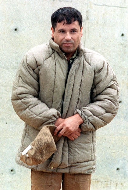 "ALMOLOYA DE JUAREZ, MEXICO - JULY 10:  This 10 July, 1993, file photo shows drug trafficker Joaquin Guzman Loera ""el Chapo Guzman"" at the Almoloya de Juarez, Mexico, maximum security prison. Mexican authorities announced that Guzman escaped 20 January, 2001, the Puente Grande, Jalisco, maximum security prison.   (FILM)  (Photo credit should read GERARDO MAGALLON/AFP/Getty Images)"