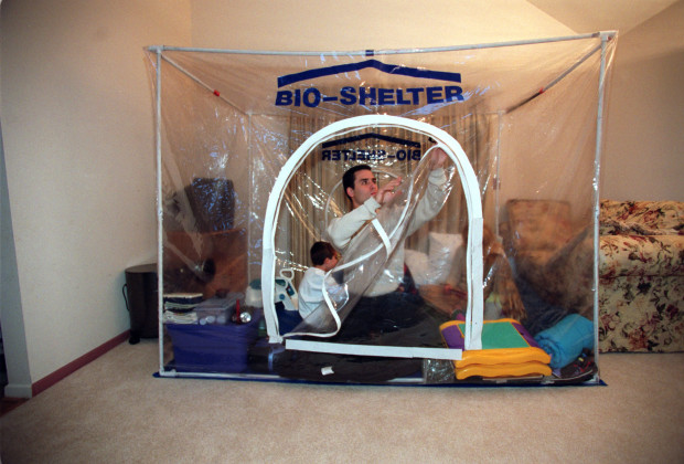 05 Nov 2001, Annandale, New Jersey, USA --- A family in New Jersey purchased a self-contained chemical and biological protective shelter, called Bio-Shelter, to protect themselves against chemical and biological terrorism.  The shelter serves as an alternative to using gas masks by pumping filtered air into the contained area.  The shelters are sold for $1,975.00 over the internet. --- Image by © Scott Houston/Sygma/Corbis