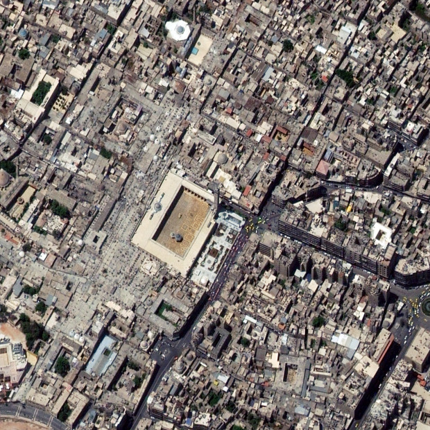 ALEPPO, SYRIA - MAY 11, 2011:  This is a satellite image of the great mosque of Aleppo before a 11th century minaret was destroyed on April 24, 2013.  (Photo DigitalGlobe via Getty Images)