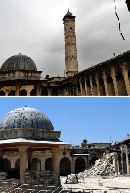 A combo of pictures shows the minaret (top) of Aleppo's ancient Umayyad mosque, in the UNESCO-listed northern Syrian city, on April 16, 2013, and the rubble (bottom) after it was blown up on April 24. The iconic mosque in Aleppo's labyrinthine Old City has been a key battleground since last July, with rebels seeking the ouster of Bashar al-Assad's regime laying siege twice but each time managing only to keep control for less than 48 hours. AFP PHOTO/ DIMITAR DILKOFF / JALAL AL-HALABI        (Photo credit should read JALAL AL-HALABI,DIMITAR DILKOFF/AFP/Getty Images)