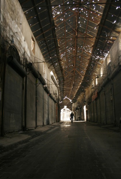 12 Feb 2013, Aleppo, Syria --- A man walks along a deserted lane in the old souks in Aleppo February 11, 2013. Picture taken February 11, 2013.REUTERS/Zaid Rev (SYRIA - Tags: CIVIL UNREST MILITARY POLITICS CONFLICT) --- Image by © STRINGER/Reuters/Corbis