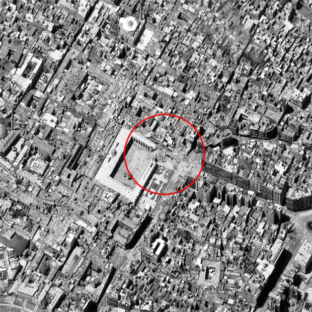 ALEPPO, SYRIA - APRIL 26, 2013:  This is a satellite image of the Ummayyad Mosque after a 11th century minaret was destroyed on April 24, 2013.  (Photo DigitalGlobe via Getty Images)