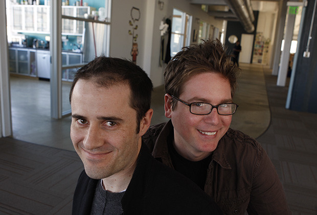 27 Jan 2009, San Francisco, California, USA --- Twitter.com CEO Evan Williams and Co-founder Biz Stone in their San Francisco office. --- Image by © Eric Luse/San Francisco Chronicle/Corbis