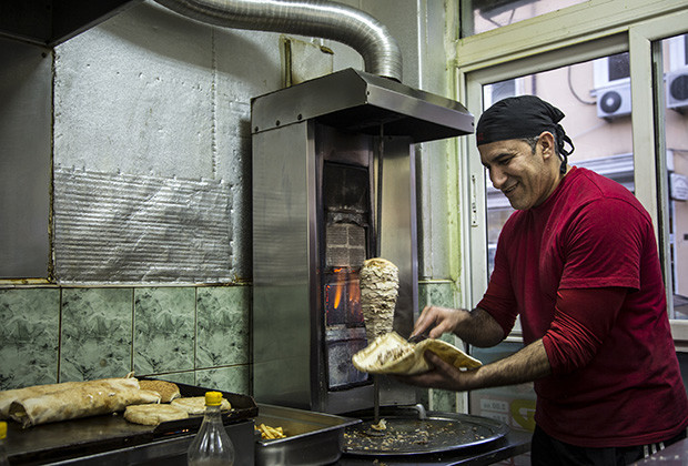 Ziyat Halil Ibrahim is an Iraqi immigrant and the owner of a fast-food shop in Sofia that sells falafel and doner sandwiches.