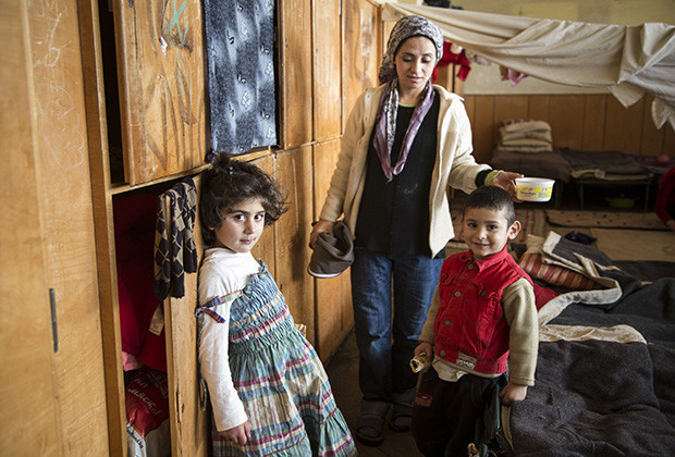 Medya Suleyman and two of her five children, in Voenna Rampa camp in Sofia. Left is Marwa, 5, and Hase, 4.