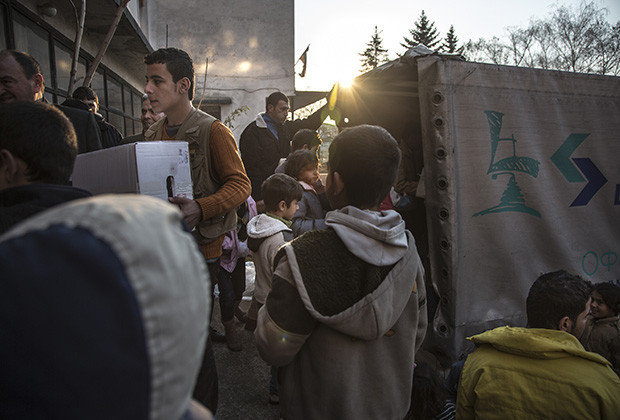 Aid is delivered to Voenna Rampa camp,  one of two accommodation centers in Sofia,  currently home to nearly 1000 mostly Syrian asylum-seekers. Ali Al Jasen was stabbed just outside the gate on December 10 by an unknown assailant, although guards were stationed nearby.