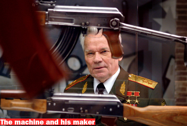 Russian general Michail Kalashnikov looks at some of the kalashnikov rifles displayed in the Army Museum in Delft, the Netherlands November 21, 2003. The army Museum exhibits a large collection of the AK-47 rifle invented by the 84-year-old general. - RTXMBR5