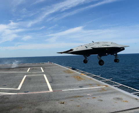 130514-N-YZ751-632 ATLANTIC OCEAN (May 14, 2013) An X-47B Unmanned Combat Air System (UCAS) demonstrator launches from the flight deck of the aircraft carrier USS George H.W. Bush (CVN 77). George H.W. Bush is the first aircraft carrier to successfully catapult launch an unmanned aircraft from its flight deck. (U.S. Navy photo by Mass Communication Specialist 2nd Class Tony D. Curtis/Released)