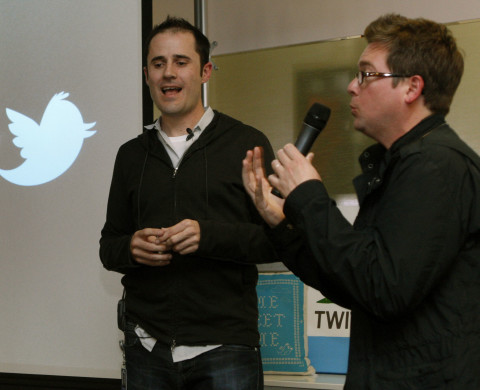 Twitter CEO Evan Williams left jokes with co-founder Biz Stone as they invalid the newly revamped Twitter website on Tuesday September 14, 2010 at Twitter headquarters in San Francisco, California. Twitter launched a new version of the popular social media site in hopes it will be more user friendly