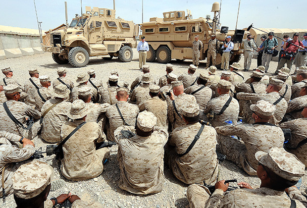 U.S. Defense Secretary Robert M. Gates talks to Marines deployed to Camp Leatherneck located on Field Operating Base Bastion, Afghanistan, during a recent trip the southwest Asia May 7, 2009. DOD photo by Air Force Master Sgt. Jerry Morrison(RELEASED)