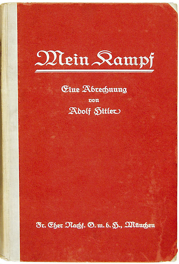epa000457638 This first edition copy of Mein Kampf, signed by Adolf Hitler, fetched £23.800 (approx euros 35,700) at auction Wednesday 15th June 2005. The book, signed by the Nazi leader in ink on the inside, was probably removed from one of Hitler's offices at the end of the 2nd World War. It was first published in two volumes and the book which sold today was the first volume. It was sold along with a signed portrait postcard of Hitler and a signed thank you card from him.  EPA/HO