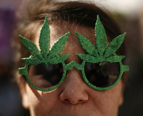 A demonstrator poses with glasses adorned with marijuana leafs during the Global Marijuana March rally in Lisbon May 7, 2011.  REUTERS/Rafael Marchante (PORTUGAL - Tags: SOCIETY) - RTR2M46B