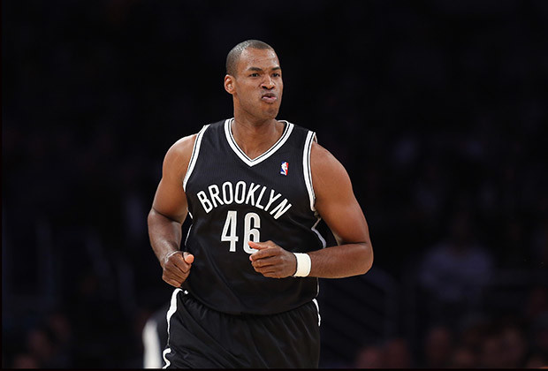 Jason Collins #46 of the Brooklyn Nets runs down the court against the Los Angeles Lakers at Staples Center on February 23, 2014 in Los Angeles, California.