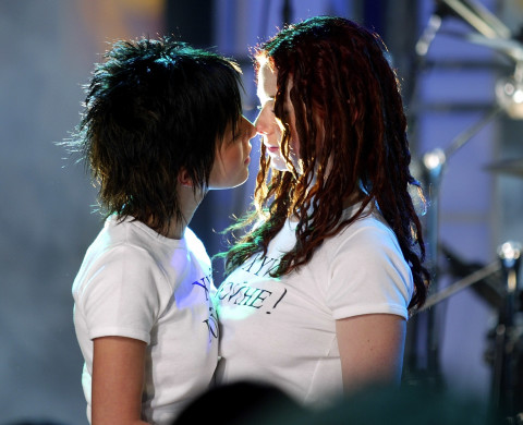 NEW YORK - MARCH 3:  ***EXCLUSIVE***  (U.S. TABS OUT) Russian pop singers TATU perform on MTV's TRL March 3, 2003 at the MTV studios in New York City.  (Photo by Scott Gries/Getty Images)