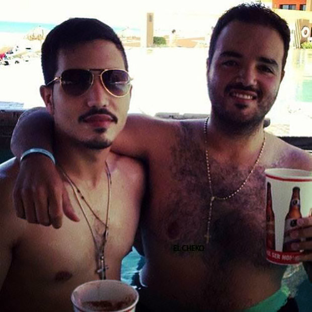 "Sarafin Zambada, left, kicking it poolside with his brother Ismael ""Mayito"" Zambada (Facebook)"