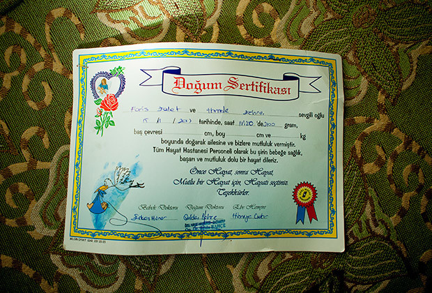 Gaziantep, Turkey 2014 A birth certificate given to Syrian families by a private hospital.