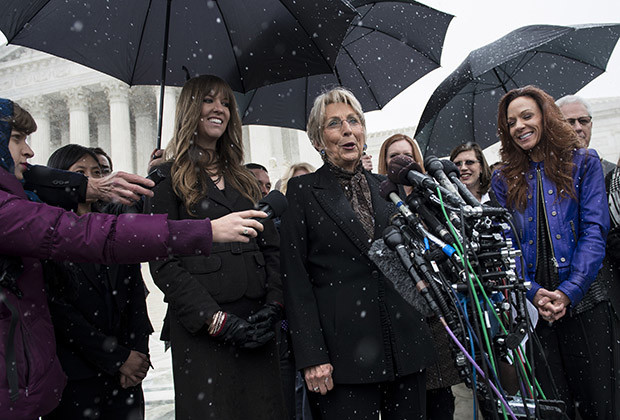 Barbara Green, co-founder of Hobby Lobby, speaks to press outside the Supreme Court March 25, 2014 in Washington, DC. The Supreme Court will hear arguments today in Sebelius v. Hobby Lobby Stores, Inc to decide if for profit corporations can refuse to cover contraceptive services in their employee's healthcare for religious beliefs.