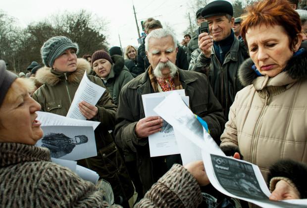 Simferopol, Crimea 2014 A pro-Ukrainian rally commemorating the 200th birth day of Taras Shevchenko, Ukraine's national poet