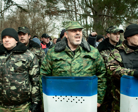 Simferopol, Crimea 2014 Pro-Russian civil defense units in a public oath taking ceremony of the newly founded Crimean army.
