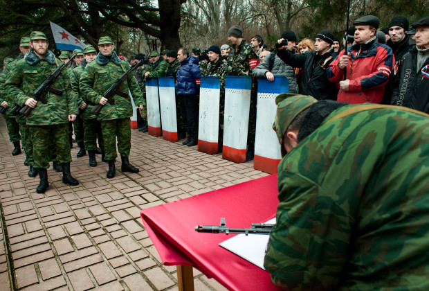 Simferopol, Crimea 2014 Public oath taking ceremony of the newly founded Crimean army.