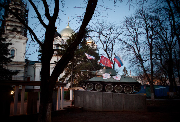 Simferopol, Crimea 2014 A state WW2 memorial recently decorated with pro-Russian flags in Lenin Square.