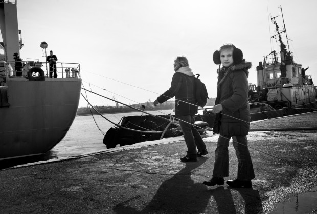 Sevastopol, Crimea 2014 Families of the sailors inside an Ukrainian Navy ship brings supplies to loved ones. The supplies are transferred to the blockaded ship using fishing lines. The two remaining Ukrainian ships can not leave the port due to the Russian blockade.