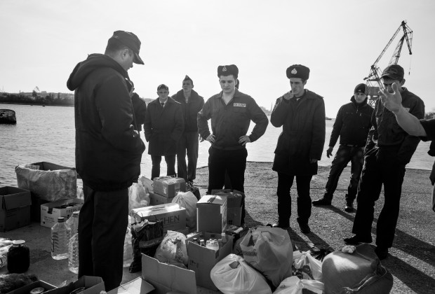 Sevastopol, Crimea 2014 Sailors from an Ukrainian Navy Ship with the supplies brought by sympathetic Ukrainian civilians. The two remaining Ukrainian ships can not leave the port due to the Russian blockade.