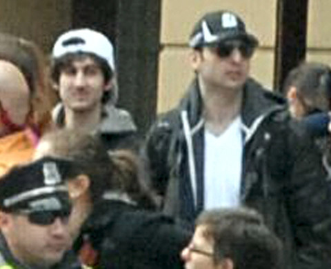 BOSTON, MA - APRIL 15: In this image released by the Federal Bureau of Investigation (FBI) on April 19, 2013, two suspects in the Boston Marathon bombing walk near the marathon finish line on April 15, 2013 in Boston, Massachusetts. The twin bombings at the 116-year-old Boston race resulted in the deaths of three people with more than 170 others injured.  (Photo provided by FBI via Getty Images)