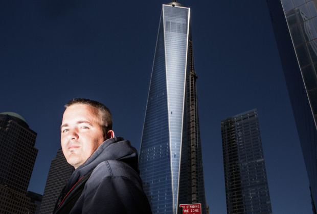 Manhattan, New York - American Filmmaker Dylan Avery photographed outside the 9/11 Memorial in lower Manhattan. Wednesday, April 16, 2014.   CREDIT: Philip Montgomery for Vocativ