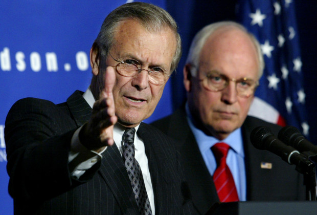 U.S. Secretary of Defense Donald Rumsfeld makes a point as he and Vice President Dick Cheney answer questions at the James H. Doolittle award luncheon May 13, 2003. Rumsfeld, this year's award winner was introduced by Cheney who received the award in 1998. The James H. Doolittle award is presented by the Hudson Institute for outstanding contributions to the nation's security. REUTERS/Kevin Lamarque  KL - RTRNGMQ