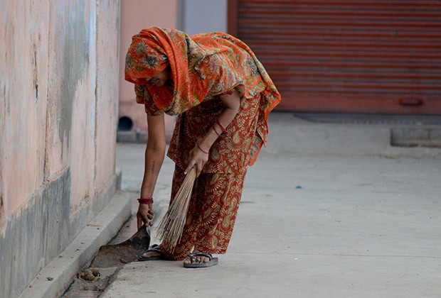 There is no respite for manual scavengers. Almost all such work are done by women and they work throughout the year. Poonam, 44, who supports a family of four children earns about 450 Indian rupees ( less than $8) every month.