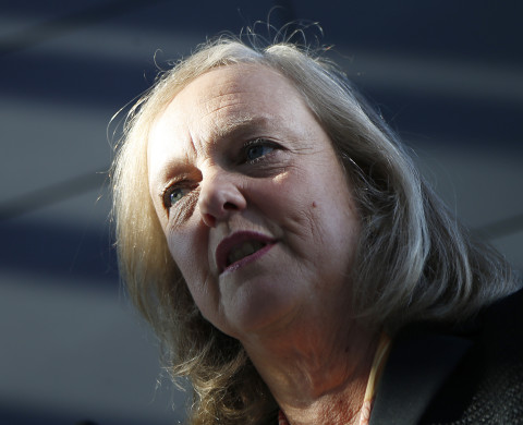 Meg Whitman, chief executive officer and president of Hewlett-Packard, speaks during the grand opening of the company's Executive Briefing Center in Palo Alto, California January 16, 2013. REUTERS/Stephen Lam (UNITED STATES - Tags: BUSINESS SCIENCE TECHNOLOGY) - RTR3CJJ4