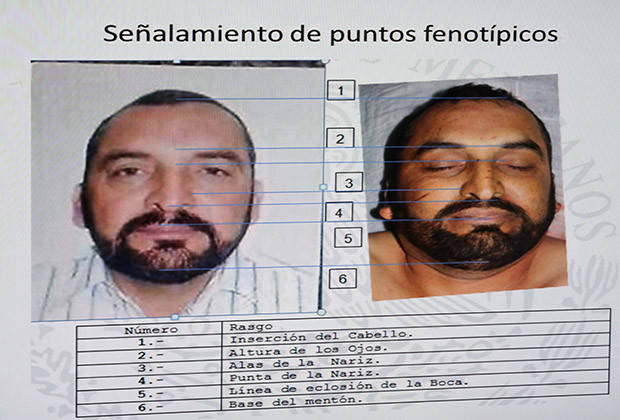 A screen displays photos of Enrique Plancarte, a leader of the Knights Templar drug cartel, during a news conference at the interior ministry in Mexico City April 1, 2014. Mexican security forces killed Plancarte in an operation in the western state of Michoacan, security officials said. The cartel has created a major security problem for Mexico's President Enrique Pena Nieto in Michoacan, where it has been fighting vigilante groups. The photos displayed show comparisons between pictures of Plancarte when he was alive and after he was killed.