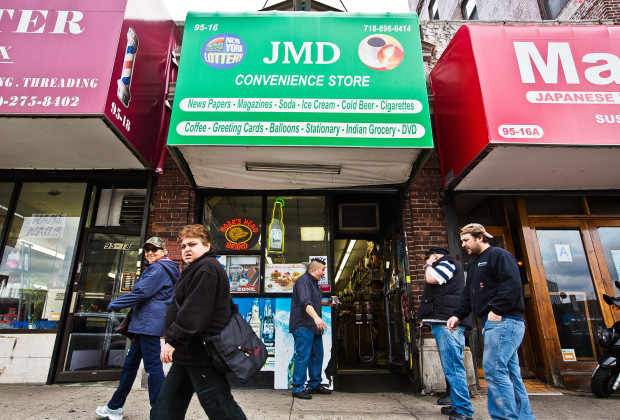 Queens, New York - The exterior of JMD Convenience Store at 95-16 Queens Blvd in Rego Park, Queens. Tuesday, April 08, 2014.  CREDIT: Philip Montgomery for Vocativ