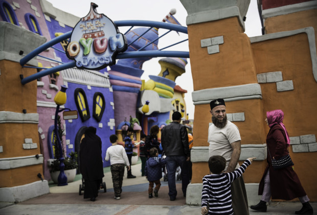 A family entering the children's area at Vialand. Vialand is Turkey's new 'Disneyland' attraction. PHOTO BY JODI HILTON FOR VOCATIV