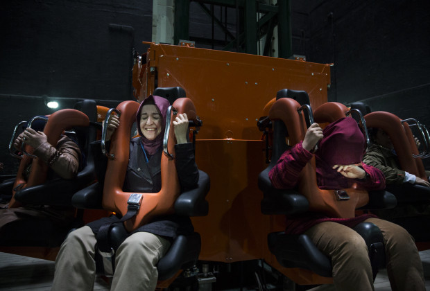 Riders react to being plummeted 50 meters on the 'Tower of Justice' ride. The ride refers to the judgements and executions carried out during Ottoman times. Vialand is Turkey's new 'Disneyland' attraction. PHOTO BY JODI HILTON FOR VOCATIV