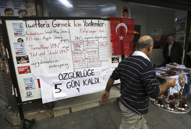 "A board shows alternative ways to access Twitter, is placed at an election campaign office of the main opposition Republican's People's Party (CHP) in Istanbul March 25, 2014. Prime Minister Tayyip Erdogan rails against Twitter as part of a plot to blacken him and portray his Turkey as corrupt; but Turks in growing numbers are exploring ever more innovative ways to beat his ban in what has become a cyber-battle of wits. Last week, few Turks were conversant with technical terms such as VPN or DNS, but that has all changed now, in the pursuit of the forbidden. In a nod to old-style political protest, ""workarounds"" are even daubed on walls in Turkey's major cities. REUTERS/Murad Sezer (TURKEY - Tags: POLITICS ELECTIONS SCIENCE TECHNOLOGY) - RTR3IJ84"