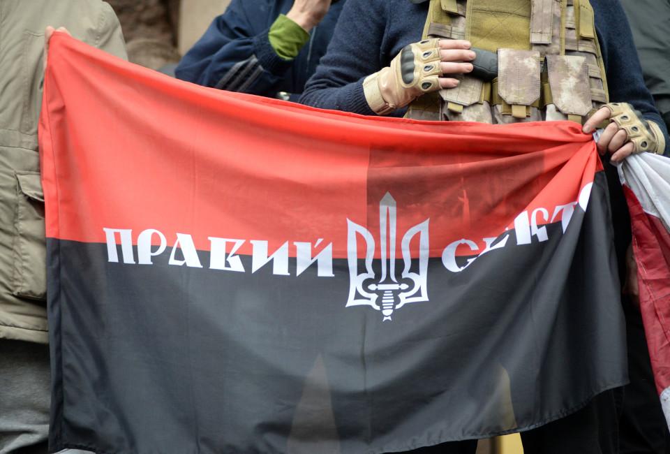 Pravyi Sektor (Right Sector) flag. Euromaidan, Kyiv, Ukraine.