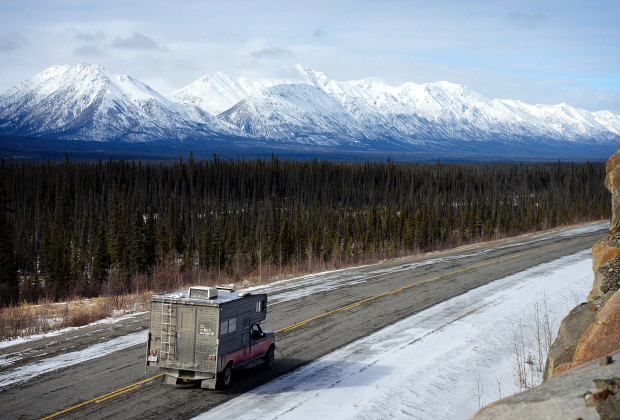 James Roh and Joey Howell make their way north to Alaska via the Stewart Cassiar Highway in the Yukon Territory on March 22, 2014.  Starting in January, the two spent the winter traveling north from Utah to Alaska while snowboarding in different mountains along the way.    JAMES ROH