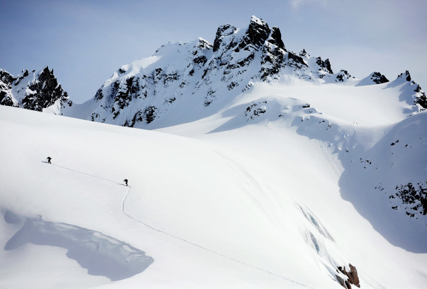 Joey Howell, left, and Spenser Heaps make their way onto the Mint Glacier in the Talkeetna Mountains of Alaska on April 16, 2014.  This glacier was just one of several the group traveled on while completing the five-day hut-to-hut Bomber Traverse.  JAMES ROH