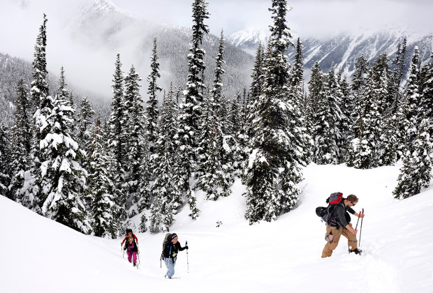 Ghislain De Laplante, Rosie Staes, Christina Delaney, and Joey Howell, from left, make their way up a mountain during a tour near Keith's Hut in the Coastal Mountains of British Columbia on March 6, 2014.  Overnight hut trips gave Joey Howell and James Roh an opportunity to meet and hang out with locals.
