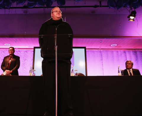 Kim Dotcom speaks during a press conference announcing former leader of the Alliance Party, Laila Harre as leader of the Internet Party at the Langham Hotel on May 29, 2014 in Auckland, New Zealand.