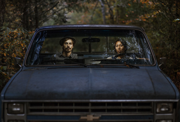A self portrait of my girlfriend, Kristen Molina Nauert  and I in her truck that we got for hauling firewood and other house work related tasks.