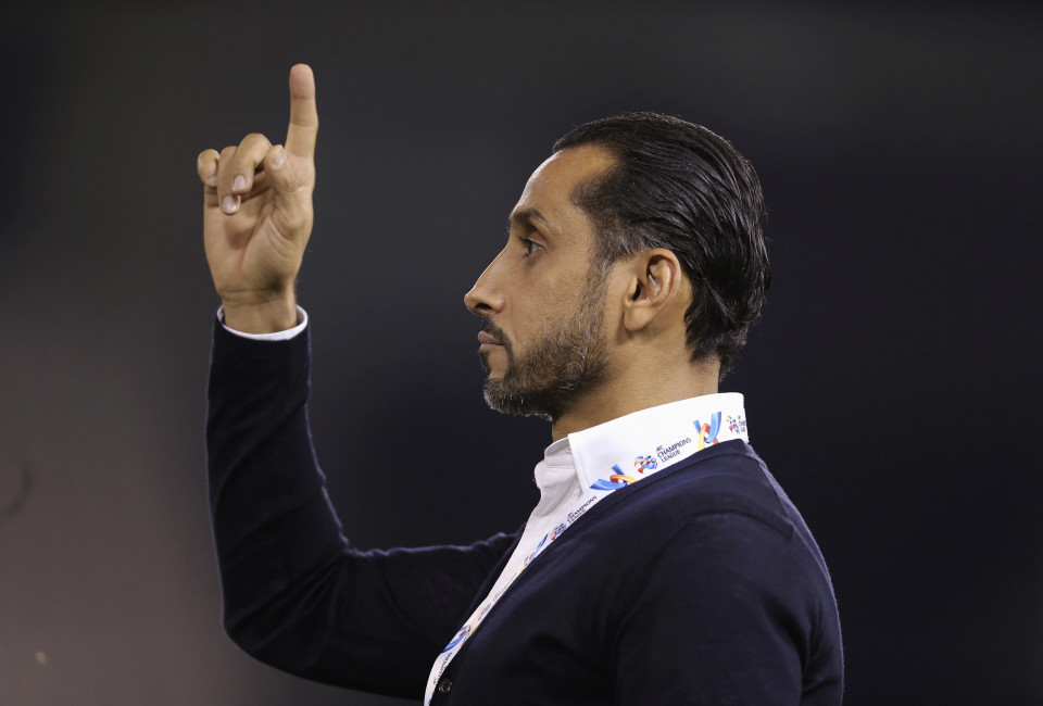 Head coach Sami Al-Jaber of Saudi Arabia's Al Hilal reacts during their AFC Champions League soccer match against Qatar's Al Sadd.