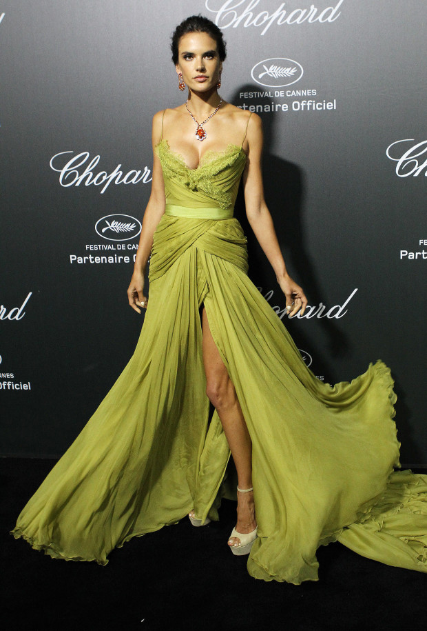 Brazilian model Alessandra Ambrosio arrives to the Chopard 'Backstage party' on the sidelines of the Cannes film festival.