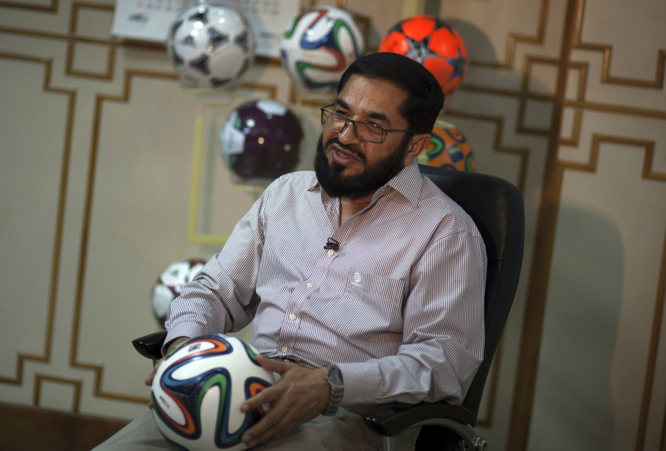 Khawaja Masood Akhtar, CEO of Forward Sports which manufactures the official World Cup ball, talks to Reuters during an interview at its factory in Sialkot May 16, 2014. It was when he felt the roar of the crowd at the 2006 World Cup in Germany that Pakistani factory owner Akhtar first dreamt up a goal of his own: to manufacture the ball for the biggest soccer tournament on the planet. Last year he finally got his chance - but only 33 days to make it happen.