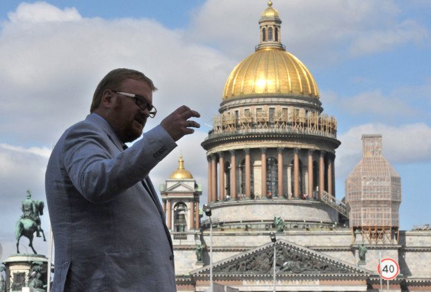 TO GO WITH AFP STORY BY MARINA KORENEVA  A picture taken  in Russias second city of Saint Petersburg on August 26, 2013, shows Vitaly Milonov, a lawmaker in the local parliament who has become a hate figure for gay rights activists, speaking during his interview with the AFP. Milonov believes that British actor Stephen Fry is a bringer of evil, thinks homosexuality is a perversion and thanks God for giving Russia Vladimir Putin to defend its values. AFP PHOTO / OLGA MALTSEVA        (Photo credit should read OLGA MALTSEVA/AFP/Getty Images)