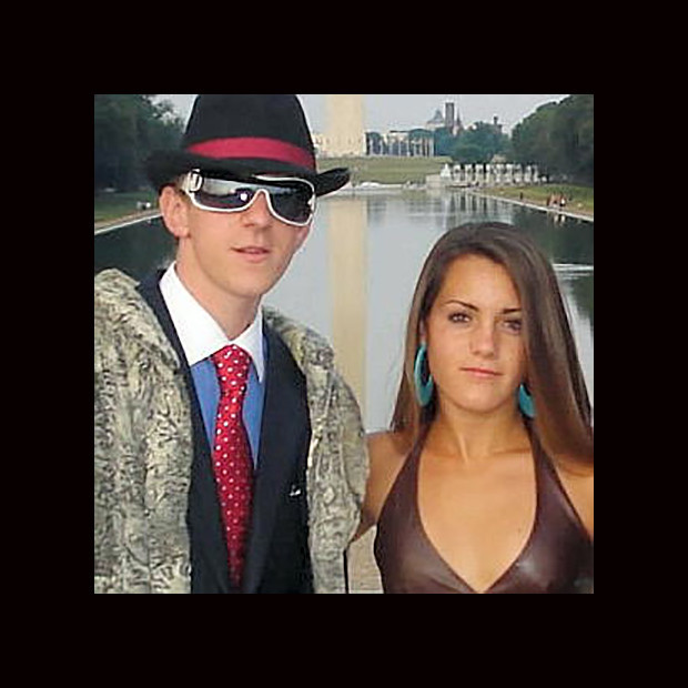 Filmmaker James O'Keefe and friend Hannah Giles, dressed in costume as a pimp and prostitute respectively, pictured at the Washington Monument.